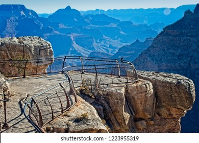 View of the Mather Point overlook at Grand Canyon from South Rim in autumn.
