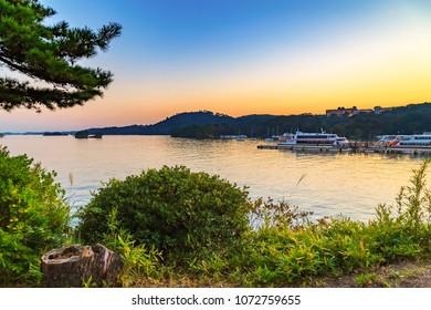 View of matsushima bay consists of a passenger boat, Matsushima, Miyagi, Japan
