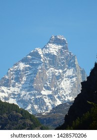 View of the Matterhorn in the Italian Alps near the village of Chamois, Valle d'aosta, Italy - June 2019.