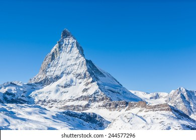 View of Matterhorn on a clear sunny day on the winter hiking path, Zermatt, Switzerland