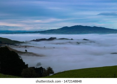 A view of Maungatautari, the Sanctuary Mountain on a misty Waikato morning