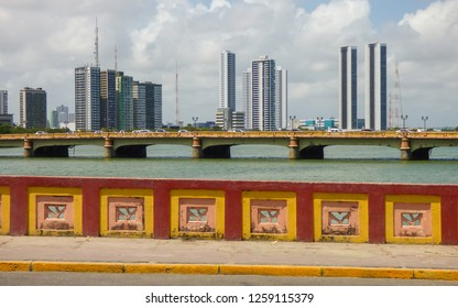 A view from Mauricio de Nassau bridge - skyscrappers in the background - Recife, Brazil