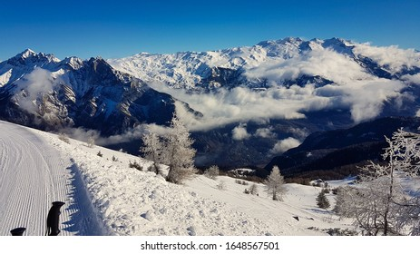 View of the Maurienne valley from Les Karellis in the morning after a snowfall
