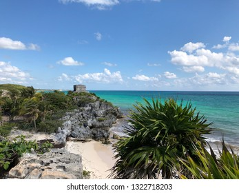 View of the Mayan ruins of Tulum in Mexico with the Caribbean Sea in the background