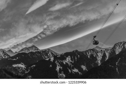 View of Mayrhofen in sunset - Valley of Zillertal, Austria (black and white)
