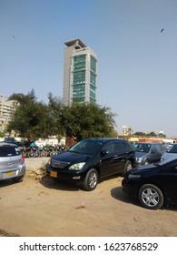 View of MCB plaza , the head office of mcb bank from railway car park.  Karachi Pakistan - Jan 2020