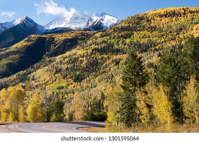 View from McClure Pass Colorado along the West Elk Loop Scenic Byway.  Chair Mountain is 12,721 feet within the Ragged Wilderness of Gunnison National Forest.