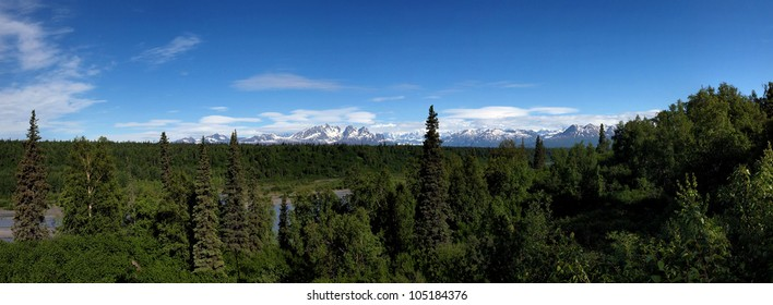 View of the McKinley mountain range from Denali viewpoint south, Highway 3, Talkeetna, Alaska