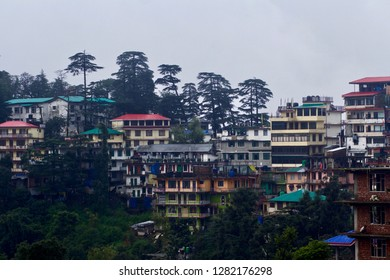 View of Mcleod Ganj, the Indian city of Tibet in Exile and Current Residence of the Dalai Lama