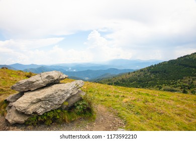 View of meadow and mountains from the Roan Highlands on Round Bald near Roan Mountain