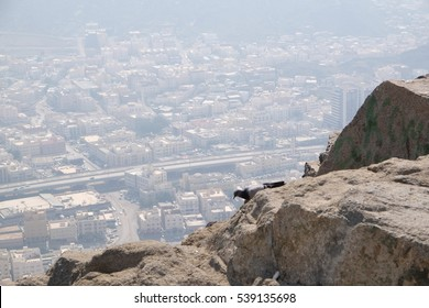 "View of Mecca or Makkah City from Mountain of Light or ""Jabar An-Nour"" where Hira Cave is located. Its the place of first revelation of Al-quran."