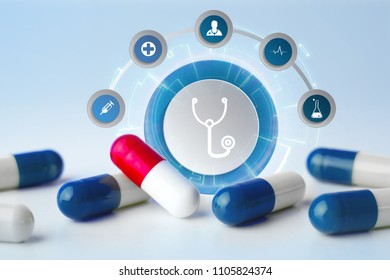 VIew of a Medecine and general healthcare icon displayed on a technology medical interace interface