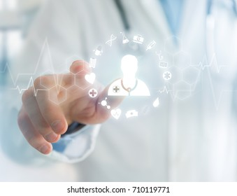 View of Medecine and general healthcare icon displayed on a technology interface
