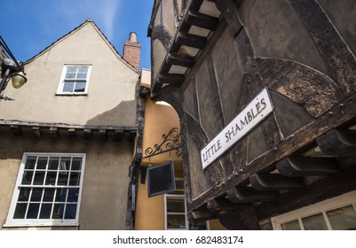A view of the medieval architecture of Little Shambles in the historic city of York in England.