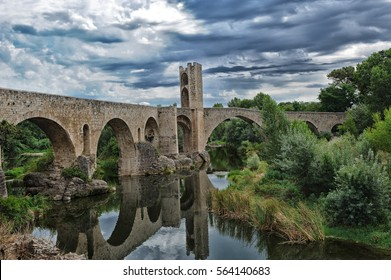 View of medieval bridge of Besalu, Catalonia, Spain