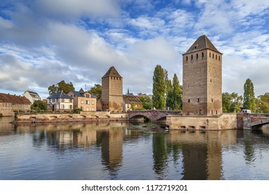 View of  medieval bridge Ponts Couverts from the Barrage Vauban in Strasbourg, France
