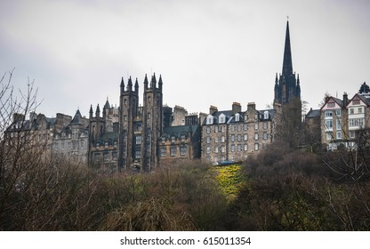 The view of medieval building in Edinburgh, Scotland, UK