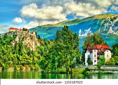 View of the medieval castle in Bled, Slovenia