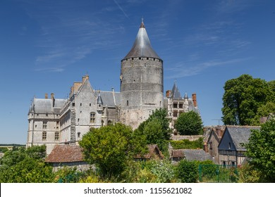 View to the medieval castle of Chateaudun town, France