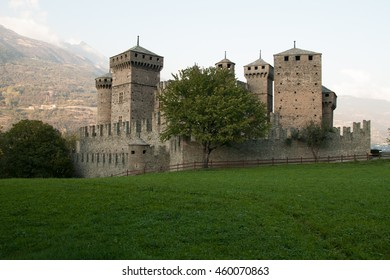 View to medieval castle of Fenis in northern Italy (Valle d'Aosta, Italy)