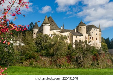 View of the medieval Castle Frauenstein in Carinthia/Austria at a sunny autumn day