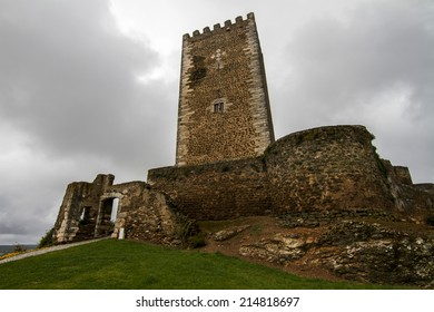 View of the medieval castle located in the small village Portel, Portugal.