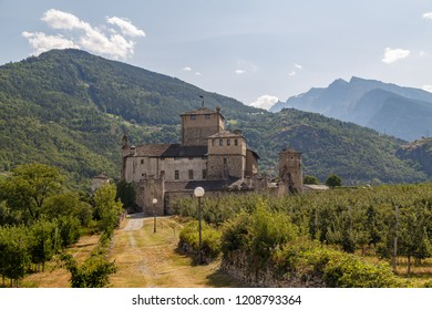 View to medieval Castle Sarriod de La Tour in Aosta Valley, Italy