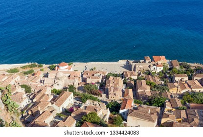 View of the medieval castletown of Monemvasia, Peloponnese, Greece.