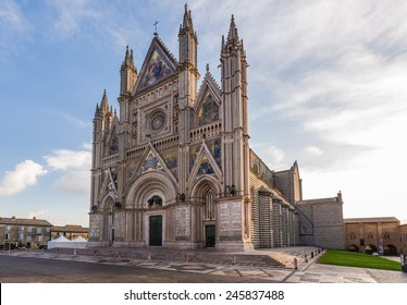 view of medieval cathedral in Orvieto, Umbria, Italy