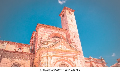 View of the medieval cathedral of Saint Maria built in Romanesque architectural style in Siguenza, Guadalajara in Castilla-la-Mancha region of Spain near Madrid. Beautiful, old and medieval cathedral.