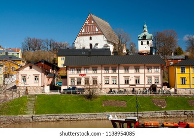View of medieval church Porvoo cathedral, Finland. 5 MAY 2018 - Porvoo, Finland
