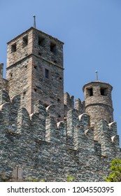 View to the medieval Fenis castle in Aosta Valley, Italy