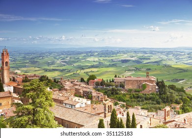 View of the medieval Italian town of Montalcino. Tuscany