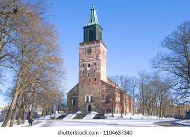 View of the medieval Lutheran Cathedral of the 13th century on a sunny February day. Turku, Finland