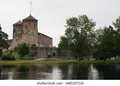 View of medieval Olavinlinna castle in Savonlinna city. 20th August 2016. Finland. Europe.