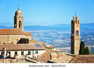 View of the medieval old town of Montalcino. Tuscany, Italy