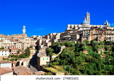 View of medieval old town of Siena, Italy