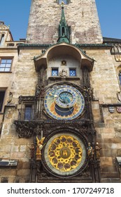 View of the medieval prague astronomical clock (prague orloj) on the tower of the old town hall on the Staromestskaya square in Prague. Czech Republic