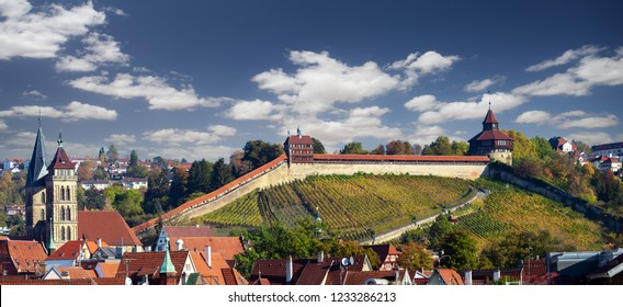 view of medieval town and castle Esslingen am Neckar in Germany