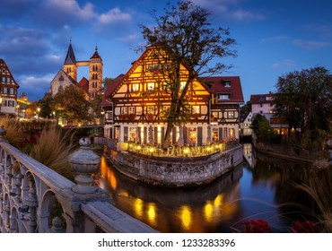 view of medieval town Esslingen am Neckar at dusk in Germany