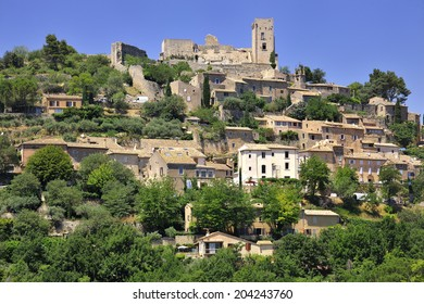 View of the medieval town Lacoste, Luberon, southern France.