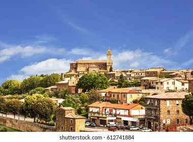View of the medieval town of Montalcino. Tuscany, Italy
