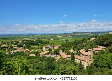 View from  Medieval Village of Seguret on rural landscape, Provence, France