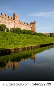 View of the medieval walls and moat of the city of Cittadella, Padua province, Italy