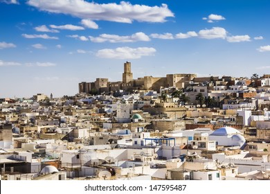 View of the Medina and the castle kasbah of Tunisia in Sousse.
