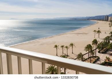 View of Mediterranean beach in Cullera, Valencia, Spain