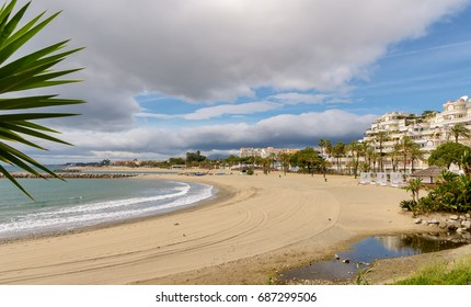 View of Mediterranean beach in Marbella, Spain.