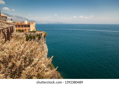 View of the Mediterranean from a cliff in the city of Gaeta. Italian province of Latina.