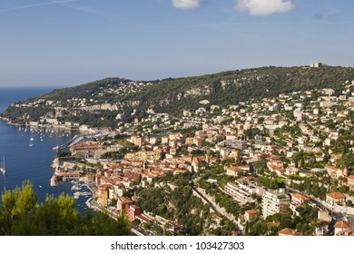 View of Mediterranean luxury resort and bay with yachts. Nice, Cote d'Azur, France. French Riviera - turquoise sea and perfect blue sky