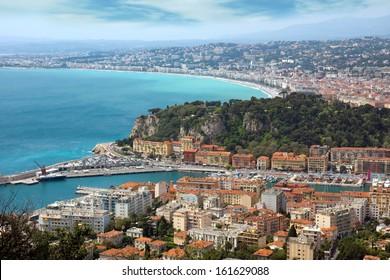 View of mediterranean resort, Nice, Cote d'Azur, France